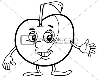 apple character coloring page