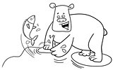 fishing bear coloring page
