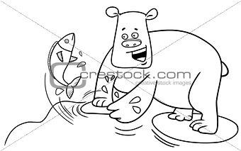 fishing bear coloring page