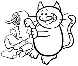 cat and toilet paper coloring page