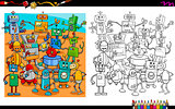 cartoon robots coloring page