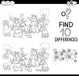 dog difference game coloring page