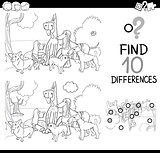 dogs difference game coloring page