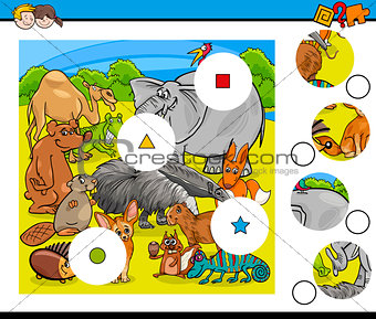 animals match pieces game