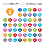 50 Economy and business buble icons