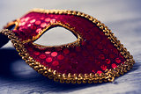 elegant red and golden carnival mask