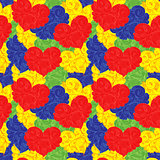 Multicolour seamless floral pattern with hearts