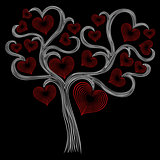 Stylised white tree with red hearts