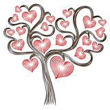 Tree with stylised red hearts