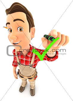 3d handyman drawing positive check mark