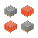 Isometric wooden pallet with cinder blocks and bricks, vector illustration.