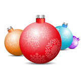 Toys and decorations for the Christmas tree, vector illustration.