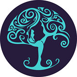 Paper cut out yoga tree
