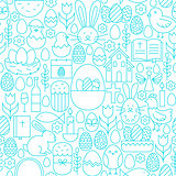 Easter Line Seamless White Pattern