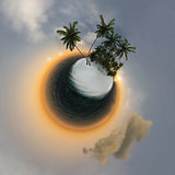 small planet, ocean, tropical island, palm trees