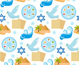 Passover seamless pattern. Pesach endless background, texture. Jewish holiday backdrop. Vector illustration.