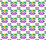 Mardi Gras seamless pattern with carnival mask. Masquerade background, texture, paper. Vector illustration.