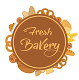 Bakery products frame with bread, loaf, buns. Vector illustration.