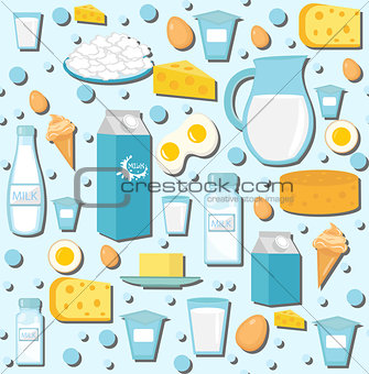 Dairy products seamless pattern with milk, cheese. Dairies background, texture, paper. Vector illustration.