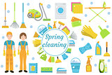 Spring Cleaning icons, flat style. Housekeeping frame with tools isolated on white background. Vector illustration.