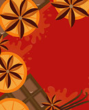 Red background with orange, cinnamon and chocolate. Mulled wine concept with space for text. Vector illustration.