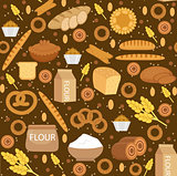 Bakery products seamless pattern with bread, loaf, buns. Vector illustration.