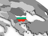 Bulgaria on globe with flag