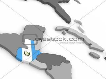 Guatemala on globe with flag