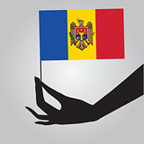 Hand with flag Moldova