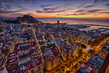 sunrise over the ancient city of Alicante in Spain