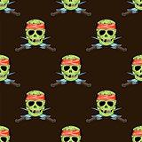 Skull Cross sharp Dagger Seamless Pattern