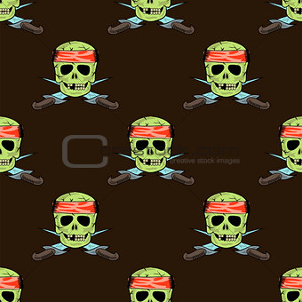 Skull Cross sharp Dagger Seamless Pattern
