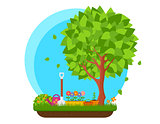 spring garden with flower and tree