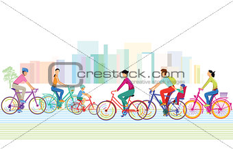 A group of cyclists in the city