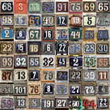 Vintage grunge square metal rusty plate of numbers of street add