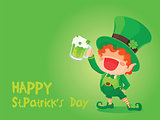 St. Patrick's Day Happy Leprechaun Holding Beer.