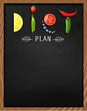 The concept of diet on the chalkboard.