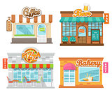 Vector illustration flat cafes and shop.