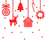 Hanging christmas toys decoration vector.