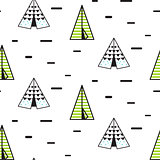 Teepee tent vector seamless pattern.