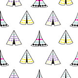 Indian teepee white vector seamless pattern.