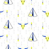 Tribal navajo teepee seamless vector pattern.