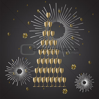 Champagne glass stack festive vector background.