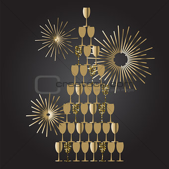 Champagne glass tower festive vector background.