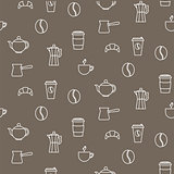 Coffee line icons seamless vector pattern.