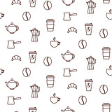 Coffee house line icons seamless vector pattern.