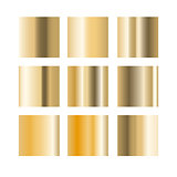 Gold gradient palette swatches vector.