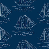 Sailing ship seamless outline vector pattern in doodle style.