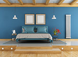 Blue and wooden master bedroom