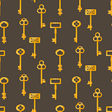 Gold keys seamless vector pattern on brown. Retro cartoon key background.